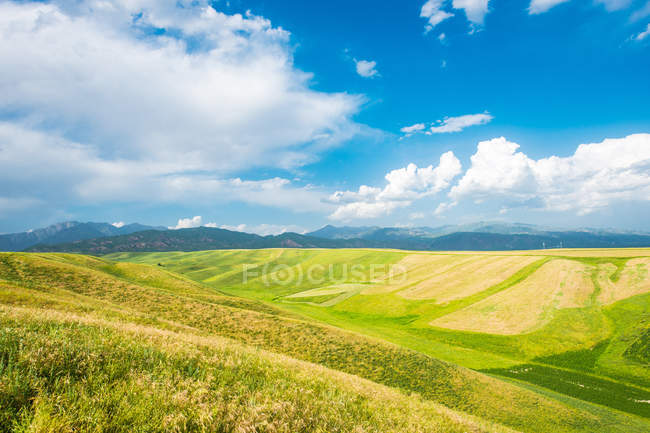 Blue cloudy sky over green hills and mountains on horizon — Stock Photo