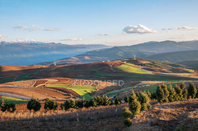 Amazing mountain landscape with lush vegetation and fields in valley during daytime — Stock Photo