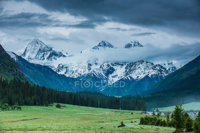 Amazing mountain landscape with snow-covered peaks and green vegetation in valley — Stock Photo