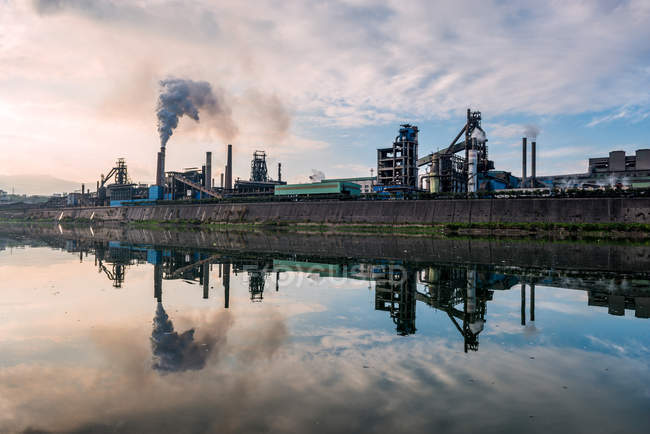 Iron and steel smelting industrial plant — Stock Photo