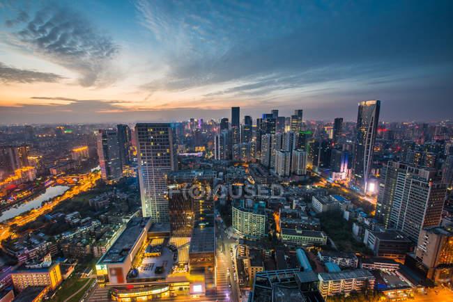 Província de Sichuan, cidade de Chengdu, cenário Street East Zijie, vista arial — Fotografia de Stock