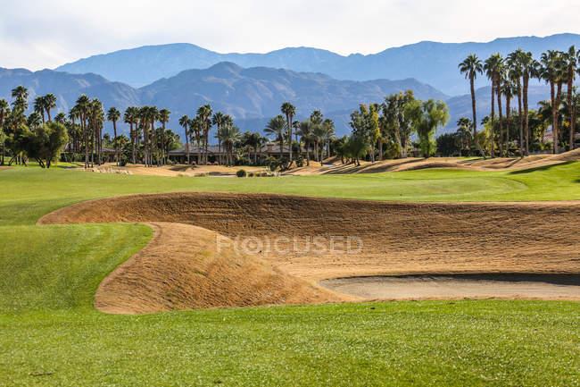 Удивительная зеленая лавка на поле для гольфа в солнечный день — стоковое фото