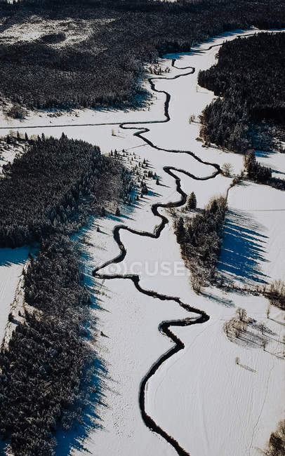Vista aérea de río increíble, tierra de hielo roto y árboles en el día soleado de invierno - foto de stock