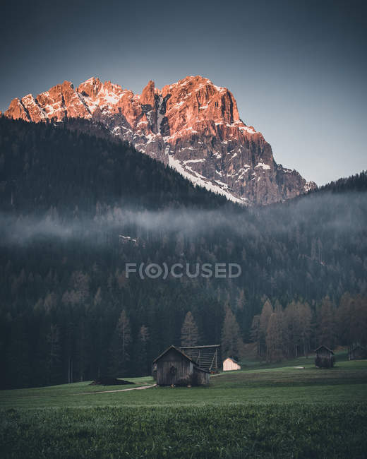 Brown house on grass field near alps mountains - foto de stock