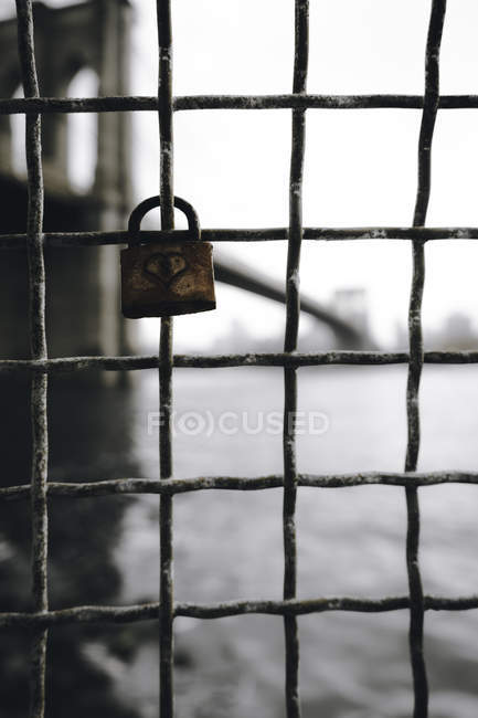 Close-up view of closed gray padlock locked on grey metal fence — Stock Photo