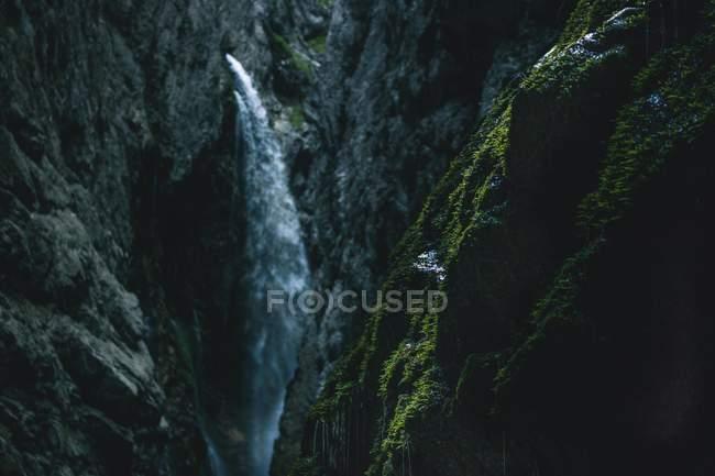 Cascada increíble en las montañas rocosas y musgo verde en primer plano - foto de stock