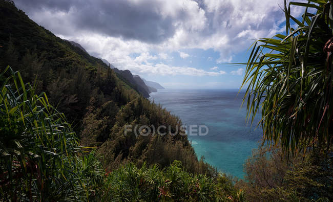 Beautiful mountains covered with green vegetation near sea — Foto stock