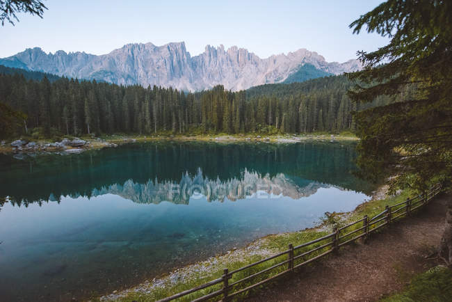 Green trees and rocky mountains reflected in calm lake — стокове фото