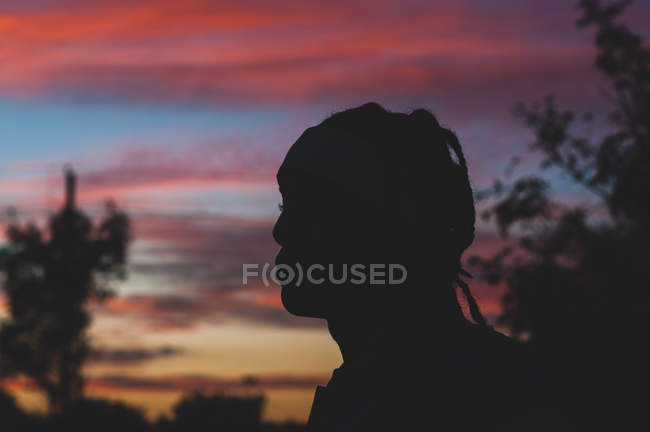 Silhouette photography of a person facing left against sunset sky — Photo de stock