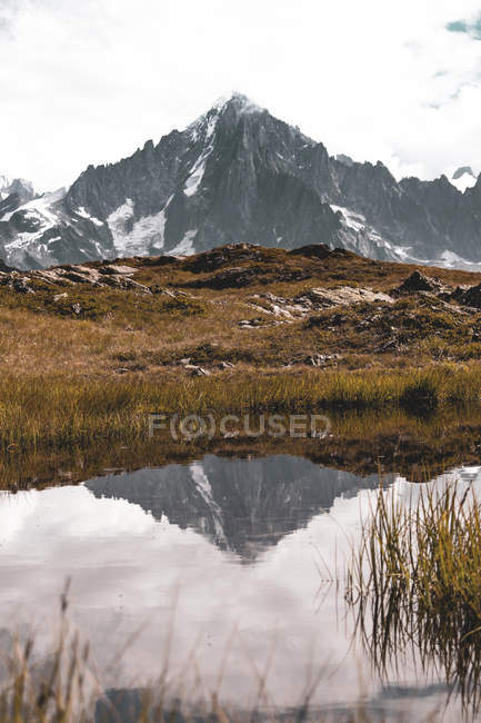 Beautiful landscape with snowy mountain and dry grass reflected in calm lake — Foto stock