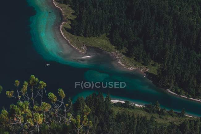 Aerial view of turquoise water in bay and green trees on coast - foto de stock