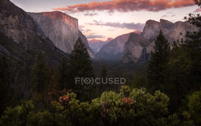 Beautiful landscape with rocky mountain peaks and green trees at sunset — Stock Photo