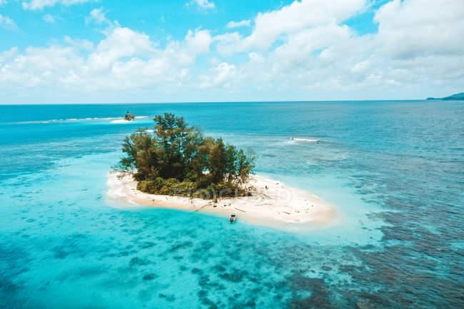 Красивий піщаний острів з зеленими деревами і спокійним синім морем — стокове фото