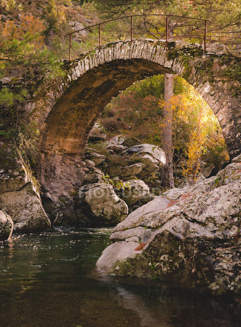 River under beautiful curved stone bridge at sunny autumn day — Stockfoto