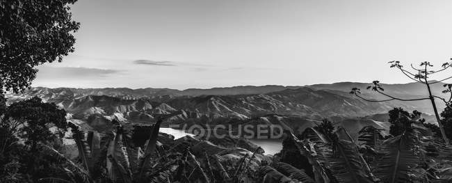 Black and white image of lush foliage and beautiful mountains under clear sky - foto de stock