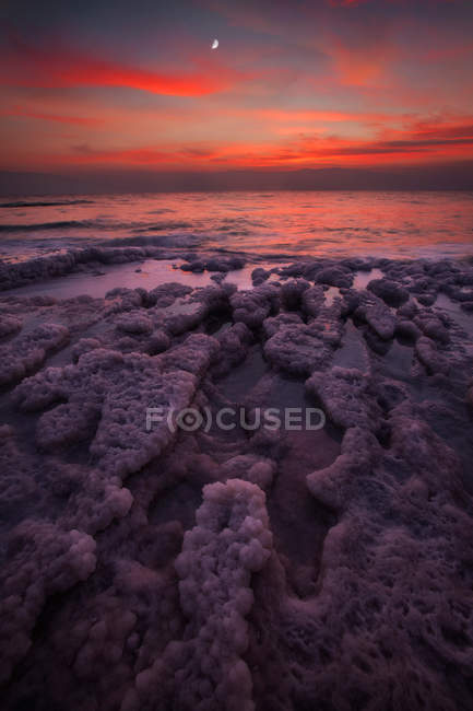 Sea foam on shore and amazing sunset sky — Photo de stock