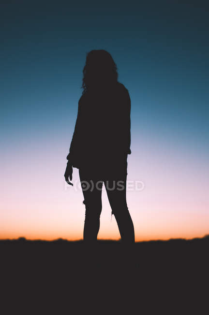Silhouette of person standing in field during sunset — Photo de stock
