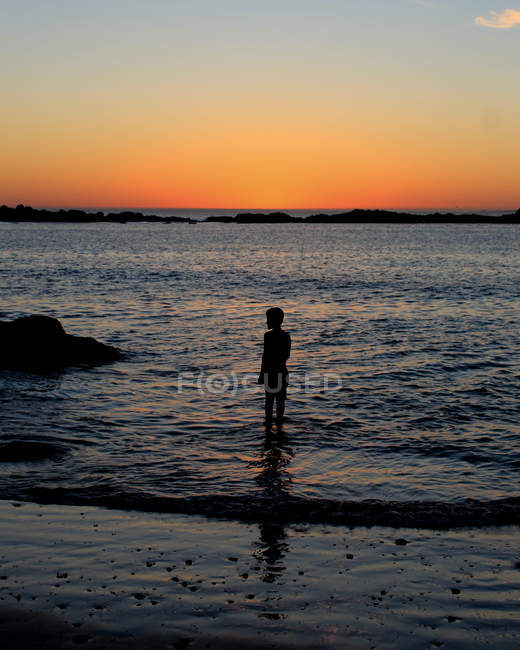 Silhouette photography of person standing on body of water during golden hour — Photo de stock