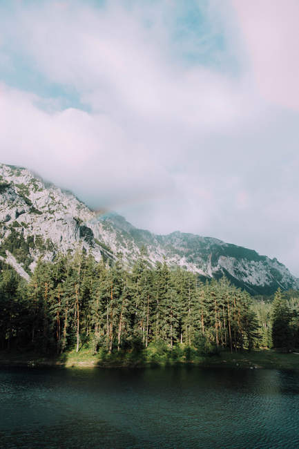 Bella vista naturale di alti pini dal lago scuro e montagne panoramiche — Foto stock
