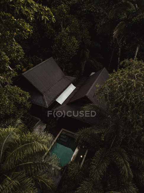 Aerial view of dark rooftops, pool and green trees — Fotografia de Stock