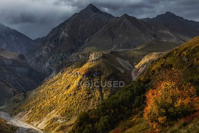 Красивий краєвид з мальовничими горбами покриті зеленої рослинністю в похмурий день — стокове фото