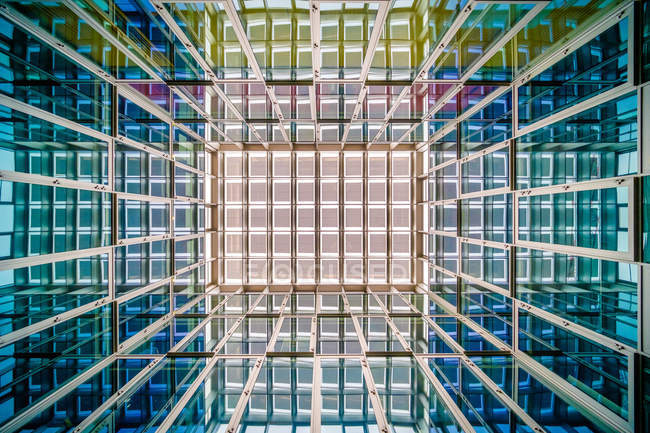 Full frame view of abstract shiny colorful grid of iron — Stock Photo