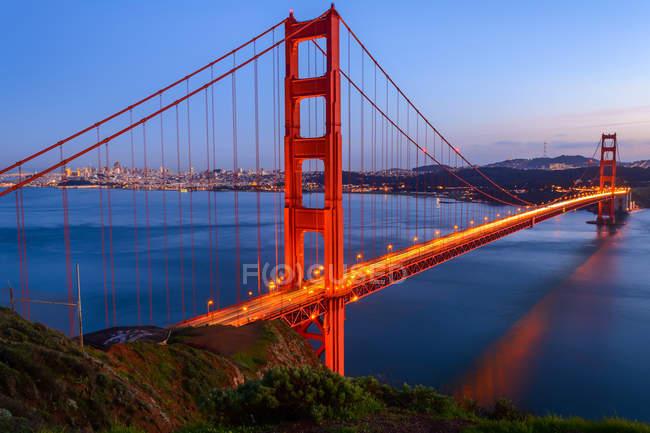 Ponte Golden gate, no pôr do sol, san francisco, Califórnia — Fotografia de Stock