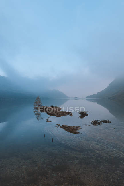Landscape photography of lake with pine trees and mountains in mist — стокове фото