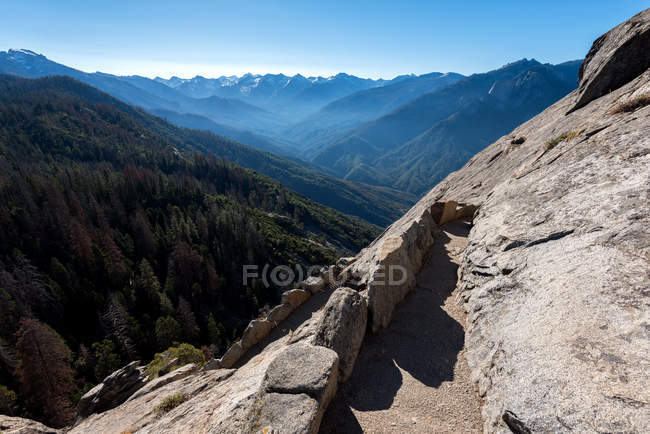 Beautiful landscape with rocky mountains and green trees - foto de stock