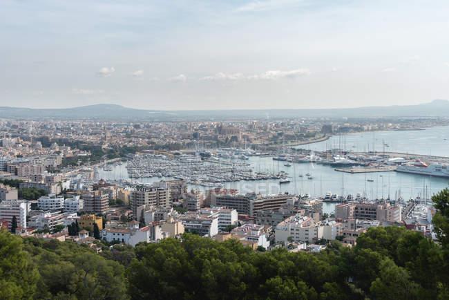 Vista aérea de árvores verdes no primeiro plano e na cidade bonita perto do mar — Fotografia de Stock
