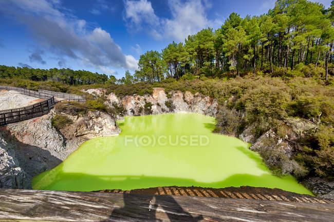 Дивовижний природний вигляд зеленуватого озера води в сонячний день — стокове фото