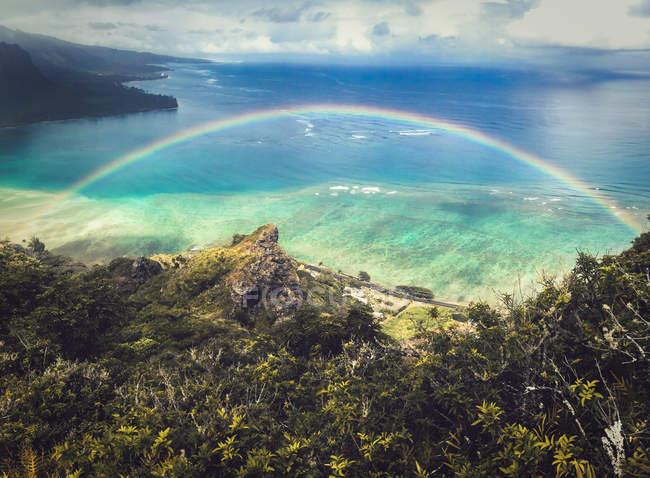 Vista aerea delle piante verdi sulla costa e arcobaleno vicino al mare — Foto stock