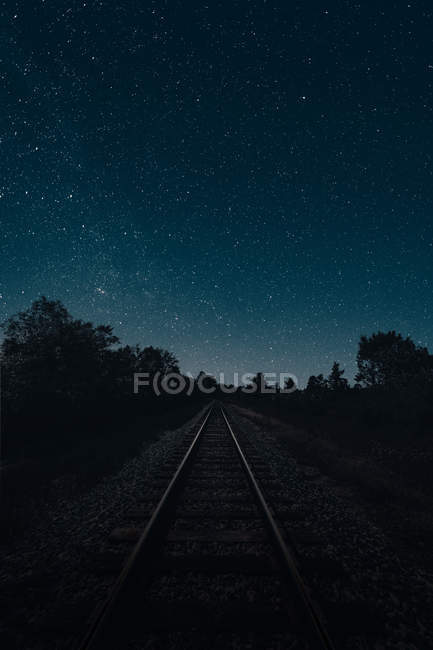 Empty railway and silhouettes of trees under starry night sky — Stock Photo
