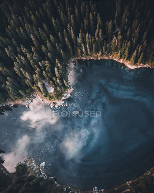 Aerial view of calm lake surrounded by beautiful pine trees — Stock Photo