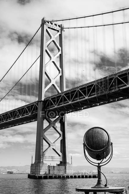 Grayscale photography of Oakland Bay Bridge during daytime — Stock Photo