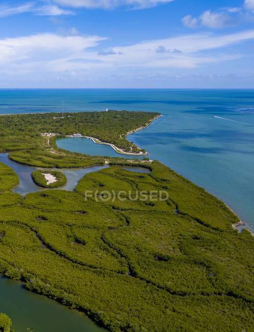 Aerial view of island covered with green vegetation and beautiful blue ocean — Stock Photo