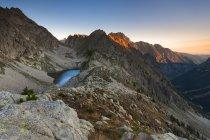 Sunrise at Fremamorta lake, Alpi Marittime Natural Park, Gesso Valley, Piedmont, Italy — Stock Photo