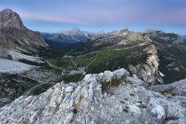 Aerial view on the Falzarego pass at dusk, Cortina d' Ampezzo, Dolomites, Veneto, Italy — Stock Photo