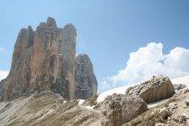Три піки Lavaredo, Tre Cime ді Lavaredo, гори Доломіти, ЮНЕСКО, Всесвітньої спадщини, Венето, Італії, Європи — стокове фото