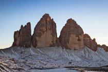 Tre cime di Lavaredo, Tre Cime di Lavaredo, Dolomiti, UNESCO, Patrimonio Mondiale dell'Umanità, Veneto, Italia, Europa — Foto stock