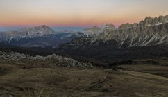 The Dolomites near Passo Giau. View towards north to Cortina d'Ampezzo. Monte Cristallo, Cadini di Misurina, Sorapis, Croda da Lago.  The Dolomites are listed as UNESCO World heritage. europe, central europe, italy,  november — Stock Photo