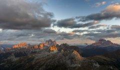 The dolomites in the Veneto. Monte Pelmo, Croda da Lago, Averau, Nuvolau, Ra Gusela and Civetta in the background. The Dolomites are listed as UNESCO World heritage. europe, central europe, italy — Stock Photo