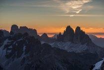 Sunrise at the Tre Cime di Lavaredo, Picco di Vallandro, Prato Piazza, Dolomites, Trentino-Alto Adige, Italy — Stock Photo