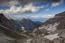 View of Seghe valley from Tosa-Pedrotti hut, Brenta dolomites, Adamello Brenta natural park, Trentino, Italy, Europe — Stock Photo