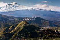 Etna volcano, view from Francavilla village, province of Catania, Sicily, Italy, Europe — Stock Photo
