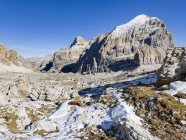 The Tofane peaks from Val Travenanzes in the Dolomites near Cortina d'Ampezzo.  The Dolomites are listed as UNESCO World heritage. europe, central europe, italy,  november — Stock Photo