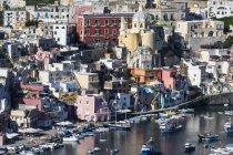Aerial view, Marina Di Corricella, Borgo dei Pescatori, fisherman's village, Procida island, Campania, Italy, Europe — Stock Photo