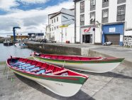 Traditional boat for catching whales, now used for recreational purposes. Velas, the main town on the island. Sao Jorge Island, an island in the Azores (Ilhas dos Acores) in the Atlantic ocean. The Azores are an autonomous region of Portugal. Europe, — Stock Photo