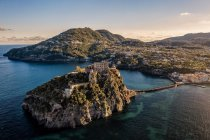Aerial view, Aragonese Castle, Ischia Porto, Ischia island, Campania, Italy, Europe — Stock Photo
