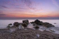 Морський пейзаж, Схід сонця на пляжі Порто-Реканаті, Марке, Італія, Європа — стокове фото